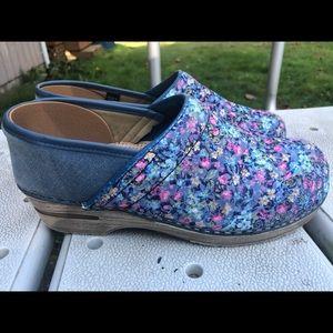 Sanita Fabric Florals Wedge Slide On Sandals SZ 40